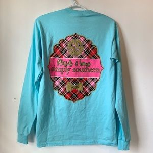 Simply Southern // Teal Long sleeve, Plaids & bows